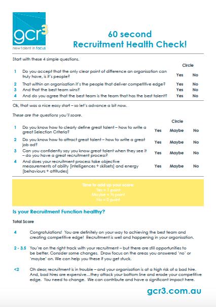 60 second recruitment health check